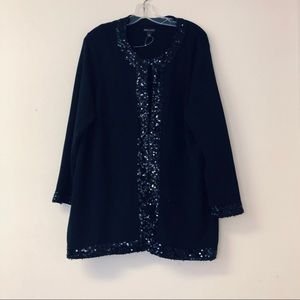 Dana Bachman black cardigan beaded 90% cotton L
